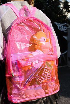kitsch, transparent bag, clear bag, pink, fashion, style, inspiration