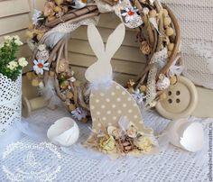 Купить Большой Пасхальный Заяц в горошек, декупаж, цветочный декор - Пасха, пасхальный, кролик, заяц