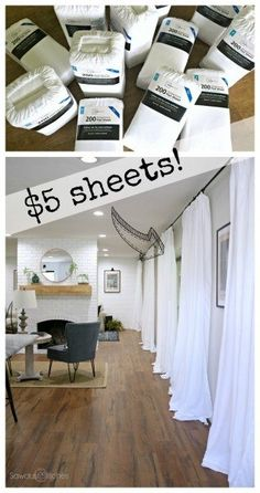 Cheap white curtains - quick, cheap and super easy - sawdust 2 stitches, . - Cheap white curtains – quick, cheap and super easy – sawdust 2 stitches, - Easy Home Decor, Cheap Home Decor, White Home Decor, Cheap Bedroom Ideas, Cheap Bedroom Makeover, Rental Kitchen Makeover, Basement Makeover, Basement Storage, Inexpensive Home Decor
