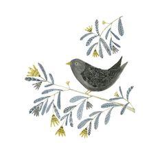 Bird on a Branch illustration  A4 archival print by inmybackyard