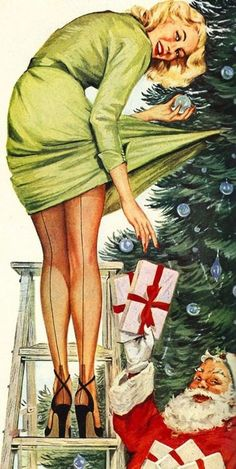 Vintage Christmas Pin-up Girl Old Christmas, Retro Christmas, Vintage Christmas Cards, Vintage Holiday, Vintage Cards, Christmas Offers, Naughty Christmas, Hygge Christmas, Christmas Mantles