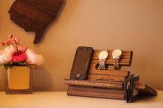 Large Wallet Model B Night Stand Oak Wood Valet iPhone Galaxy Charging Stand Nightstand Dock Graduation Father's Day Birthday For Him or Her