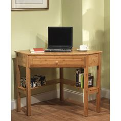 Maximize your space with this sustainable and eco-friendly bamboo corner desk. In addition to a drawer, this desk features a lower shelf for books and knickknacks.