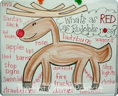 Brainstorm a list of things that are as red as Rudolph's nose. Then write a simile to attach to a crafted reindeer: Rudolph has a nose as red as _____.