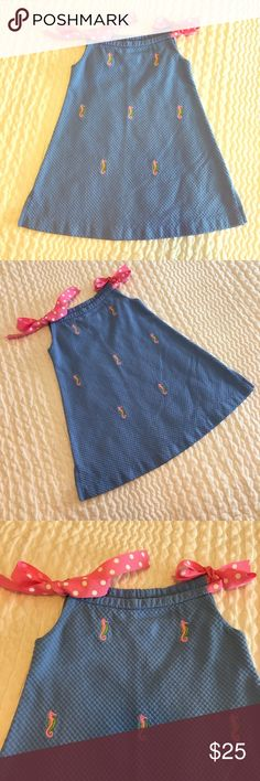 Toddler Girl Embroidered Seahorse Dress, Size 2 Handmade, Textured fabric with 🎀🎀 tie straps in cutest pink polka dots!! Like new, excellent condition, barely worn. Easily fit my daughter in to age 3. A great spring/summer piece!! K&L Handmade Dresses