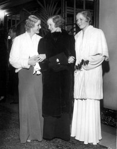 Anita Louise, Billie Burke and her daughter, Patricia, at the supper room of the Beverly Wilshire Hotel