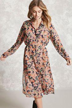 Forever 21 Contemporary - A semi-sheer woven shirt dress featuring an allover floral print, basic collar, button front, a self-tie waist, vented sides, and long button cuffed sleeves.