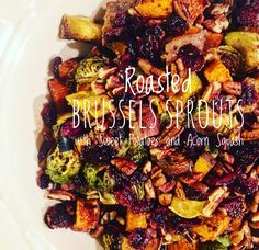 Roasted Brussels Sprouts with Sweet Potatoes and Acorn Squash: Need to bring a side to your thanksgiving gathering? My Roasted Brussels Spouts with Sweet Potatoes and Acorn Squash are all cooked on the same sheet pan! The veggies are roasted to perfection and then topped with pecans, dried cranberries, feta cheese and a balsamic reduction to bring everything together. Spend less time in the kitchen and more time with the people you love!