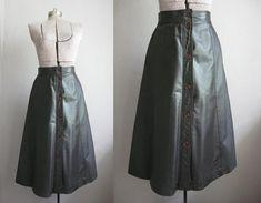 1960er Jahre Vintage Leder Rock Schokobraun von SoubretteVintage