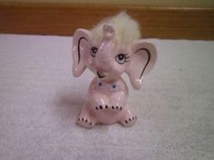 VINTAGE FIGURINE PINK ELEPHANT JAPAN REAL WHITE TOP KNOT BRADLEY EXCLISIVES