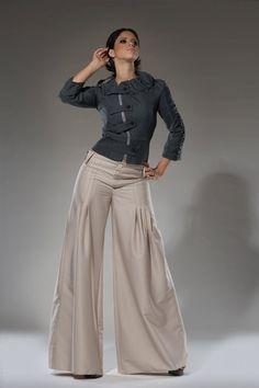 SALE Navy Wide leg Summer Dress Pants Cotton Size by DariaKaraseva, $88.00