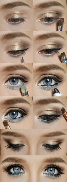 Wedding Makeup Ideas use a different color shadow on lower line for different coloured eyes!