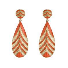 Blu Bijoux Orange Chevron Drop Earrings ($30) ❤ liked on Polyvore