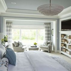 Window Treatments Design, Pictures, Remodel, Decor and Ideas - page 30. Beautiful white and light blue master bedroom, built in cabinets, beautiful ceiling moldings