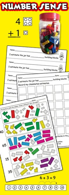 Number Sense - Addition - Subtraction - Math Centers - Bulletin Board - Worksheets Printables - Building Blocks - Lego in a Jar - Classroom Activities - Place Value - Tracing - Counting Kindergarten - First Grade