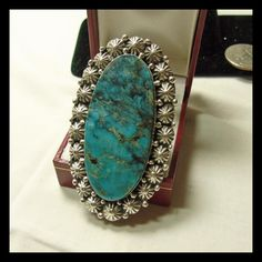 Large Sterling Silver Ring with Kingman Turquoise