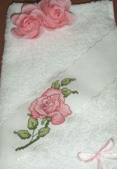 Georgeous Hand Decorated Hand Towel, Cross Stitched Rose Band & Rose Petal Soaps Granny Chic, Decorative Hand Towels, Cross Stitch Rose, Craft Items, Rose Petals, Projects To Try, Kids Rugs, Create, Soaps