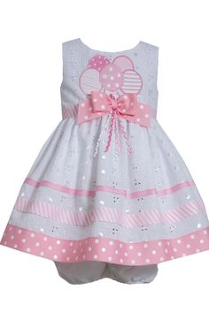 Bonnie Jean Girls Spring Summer Dress Pink /& White Eyelet Lace Toddler 2T 3T 4T