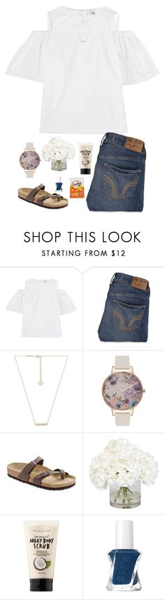 """""""•God is good to me,even when life doesn't feel good to me•"""" by jessica-smith-xxv ❤ liked on Polyvore featuring Iris & Ink, Hollister Co., Kendra Scott, Olivia Burton, Birkenstock, Ethan Allen, Sephora Collection and Essie"""