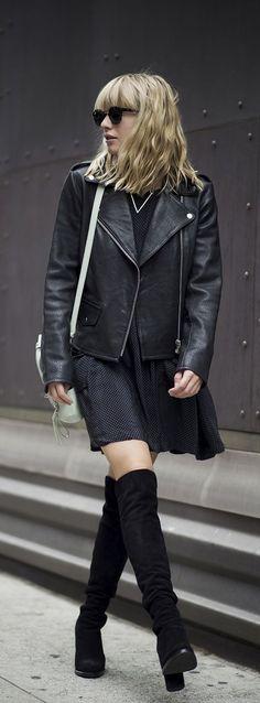 wavy hair, bangs, leather jacket, polka dot dress & knee high boots #style #fashion
