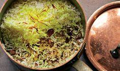 Ottolenghi - Saffron, date and almond rice recipe, plus yellow pepper and jerusalem artichoke soup Rice Recipes, Indian Food Recipes, Whole Food Recipes, Soup Recipes, Vegetarian Recipes, Arabic Recipes, Yotam Ottolenghi, Ottolenghi Recipes, Middle East Food