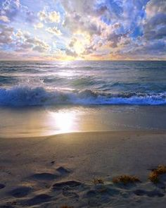 """Treasure Coast Florida Sunrise Seascape B"" by Ricardos Creations: Landscape / Seascape Photography - Digitally enhanced photo from original Treasure Coast Florida Sunrise Seascape B4 photo. This spectacular view off the Treasure Coast of Florida, was taken just a..."
