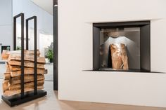 Stûv microMega @ Batibouw 2014 | © Thomas Blairon Fireplaces, Ibiza, Showroom, Van, Architecture, Design, Contemporary Fireplaces, Log Fires, Fire Places