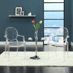 LexMod Louis Transparent Acrylic Ghost Chair