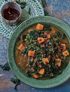 A drizzle of our Chermoula Dressing transforms roast chicken, roast cauliflower and this hearty Lentil and Cavolo Nero Stew. Recipe in The Art Of Eating Well. Kale Recipes, Real Food Recipes, Cooking Recipes, Healthy Recipes, Healthy Foods, Recipies, Ways To Eat Healthy, Healthy Eating, How To Make Brown