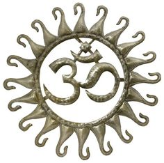 OM Sun flower metal wall art decor, In stock New reduced price $50 Recycled Home Decor, Recycled Art, Yoga Studio Decor, Zen Space, Metal Wall Art Decor, Yoga At Home, Meditation Space, Yoga Art, Art Studios