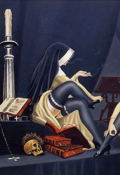 Smoking nuns are sexier! Dark Art Illustrations, Illustration Art, Satanic Art, Evil Art, Arte Obscura, Dark Fantasy Art, Pin Up Art, Horror Art, Skull Art
