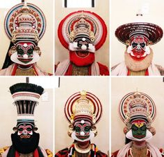 Kathakali faces with colours representing character types. For eg. Green faces depict noble character,Red/Black cruel