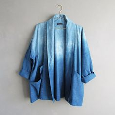 Naturally dyed indigo kimono inspired jacket is a great extra layer with practical deep pockets. Organic, eco-friendly and sustainable. certified organic cotton, dyed and made in Hertfordshire. Cotton Kimono, Cotton Jacket, Kimono Top, Kimono Jacket, Indigo Colour, Indigo Dye, Uk Fashion, Ethical Fashion, Slow Fashion