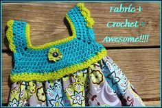 This Housewife Life: Crochet + Fabric = AWESOME ~FREE PATTERN~ ༺✿Teresa Restegui http://www.pinterest.com/teretegui/✿༻