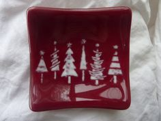 Small fused glass bowl Christmas Trees 10x10