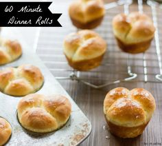 60 Minute Dinner Rolls  1/4 c. low-fat milk  2 T. granulated sugar  1/4 c. butter, divided  3 ½ tsp. dry active yeast  3/4 c. warm water (105F – 115F)  2 ½ –3 c. all-purpose flour  1/2 tsp. salt