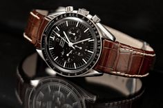 Vintage Omega Speedmaster Professional. Pre-moon. Ref. 145.012-67. Cal. 321 movement. Replacement bezel. Hirsch Leonardo Genius alligator strap. (Click on photo for high-res. image.) Photo found here: