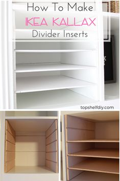 How to Make Horizontal Ikea Shelf Dividers - Top Shelf DIY - - Here's how to make horizontal shelf divider units made of plywood for your Ikea Kallax unit. These cube dividers work great for organizing offices. Craft Room Storage, Ikea Craft Room, Ikea Storage, Storage Ideas, Craft Organization, Ikea Office Organization, Ikea Office Hack, Craft Room Shelves, Ikea Closet Hack