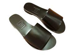 ee3d6b053a12 Ancient Greek Style Leather Sandals Roman Handmade Womens Slide Shoes  Gladiator Spartan GALENE Summer Black Colour