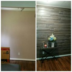 "Peel and stick luxury vinyl floor planks on wall.  I used tacks in the corners of each to make it more ""rustic"" and also used an adhesive since my walls are textured.  $.98 a square foot from Lowe's sure beats the $14+ from Stikwood for a reclaimed wood wall look.  Total cost was less than $150 and about 6 hours of time."