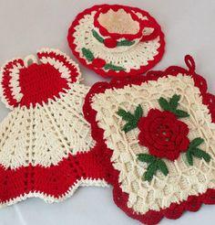 crochet pot holders  no pattern