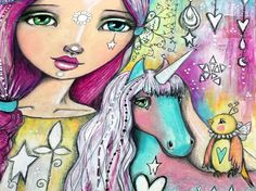 Unicorn and girl is finished. This is a detail. :) more soon x #willowingarts #willowing #mixedmedia #mixedmediaart #unicornlove