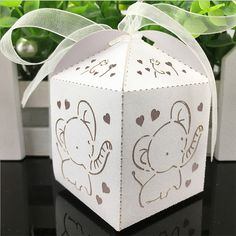 10pcs/Set 5*5*8cm Laser Cut Elephant Candy Boxes Sweets Box Baby Shower Gifts Wedding Decorations Wedding Invitations Mariage