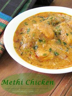 Methi Chicken Recipe, a rich chicken curry with fresh fenugreek leaves, step by step tutorial. Indian Fish Recipes, Fried Fish Recipes, Veg Recipes, Curry Recipes, Asian Recipes, Cooking Recipes, Ethnic Recipes, Cooking Tips, Healthy Recipes