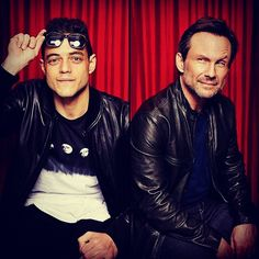Rami Malek + Christian Slater posing for TV Guide Magazine during SDCC {San Diego Comic Con} #MrRobot #RamiMalek #ChristianSlater #SDCC #SanDiegoComicCon #TVGuide #Magazine #Portrait #Cool