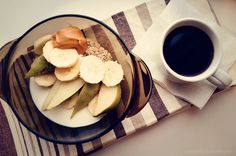 Breakfast: oatmeal with pear, banana, non-fat yogurt, peanut butter with cup of coffee. Healthy and great as always!  Have an awesome day!
