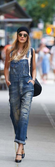 #Distressed Overalls #fashion #outfit #coordinate