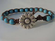 Turquoise Magnesite and Knotted Bracelet Flower by tinacdesigns, $15.00