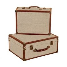 """Set of two decorative wood and burlap suitcases with top handles and latches.   Product: Small and large suitcase  Construction Material: Wood and burlap  Color: Brown and beige    Dimensions: Small: 6"""" H x 15"""" W x 11"""" D  Large: 8"""" H x 17"""" W x 13"""" D      Note: For decorative use only"""