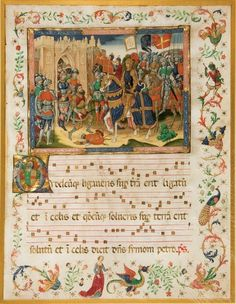 Good ideas, but rememebr this is a forgery - one of a group of manuscript pages created in the 1800's by the 'spanish forger' ILLUMINATED MANUSCRIPT LEAF ON VELLUM, by the SPANISH FORGER. Knights of the Crusades. Large illuminated miniature on a leaf from a fifteenth-century Italian manuscript antiphonal on vellum. [Paris: c. 1900].